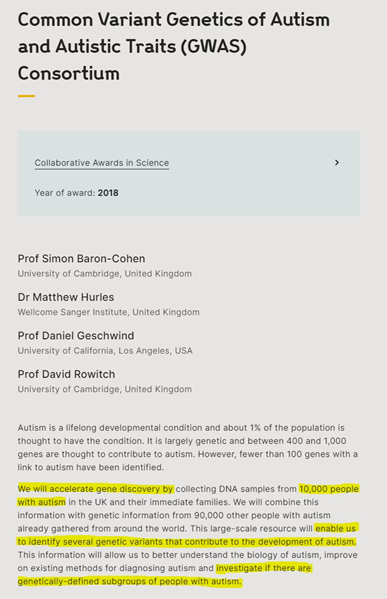 """Screenshot of Wellcome.org funding award, reads: """"Common Variant Genetics of Autism and Autistic Traits (GWAS) Consortium Collaborative Awards in Science; Year of award: 2018; Grantholders: Prof Simon Baron-Cohen, University of Cambridge, United Kingdom; Dr Matthew Hurles, Wellcome Sanger Institute, United Kingdom; Prof Daniel Geschwind, University of California, Los Angeles, USA; Prof David Rowitch, University of Cambridge, United Kingdom. Project summary. Autism is a lifelong developmental condition and about 1% of the population is thought to have the condition. It is largely genetic and between 400 and 1,000 genes are thought to contribute to autism. However, fewer than 100 genes with a link to autism have been identified. We will accelerate gene discovery by collecting DNA samples from 10,000 people with autism in the UK and their immediate families. We will combine this information with genetic information from 90,000 other people with autism already gathered from around the world. This large-scale resource will enable us to identify several genetic variants that contribute to the development of autism. This information will allow us to better understand the biology of autism, improve on existing methods for diagnosing autism and investigate if there are genetically-defined subgroups of people with autism."""""""
